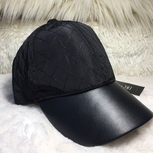 BNWT INC Black Faux Leather Quilted Baseball Cap